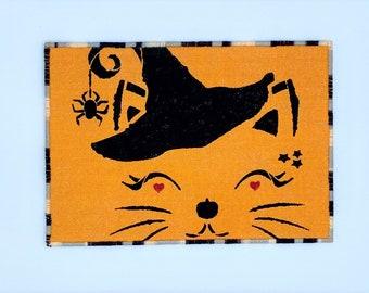 Halloween Cat Fabric Postcard