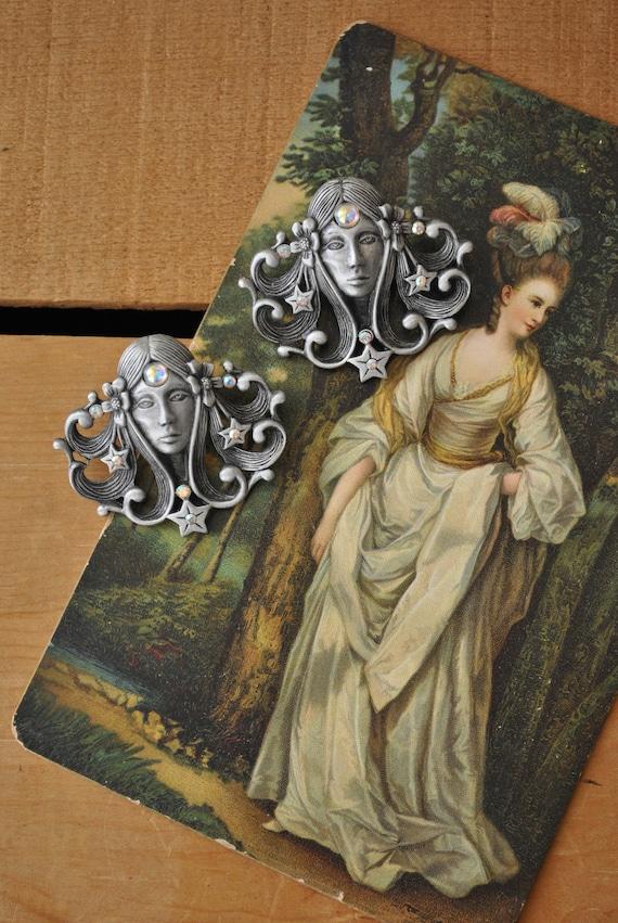Vintage Art Nouveau Style JJ Earrings