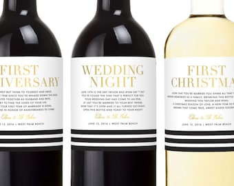 Wedding Milestone Wine Labels - Champagne Labels - Engagement Gifts for Couple - Year of Firsts Wine Labels - Bridal Shower Gift