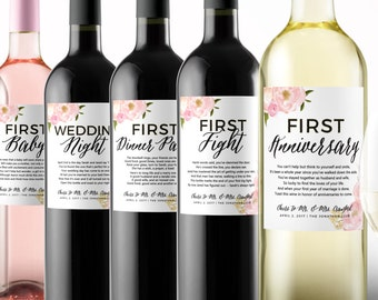 Wedding Milestone Wine Labels - A Year Of Firsts - Floral Wedding Gifts - Gift Celebrating Marriage Firsts - Wine Poems - Gift Ideas
