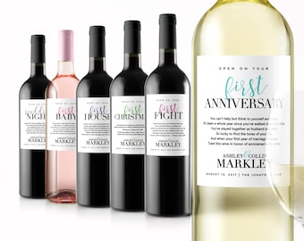 Wedding Milestone Wine Labels - Year of Firsts - First Year Married Wine Labels - Engagement Party Gifts for Couple - Personalized Poems
