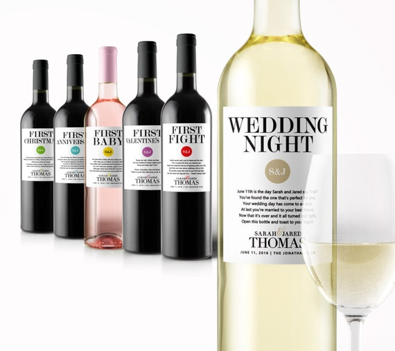 Wedding Engagement Wine Label Pdf: Wedding Milestone Wine Labels A Year Of Firsts Wine