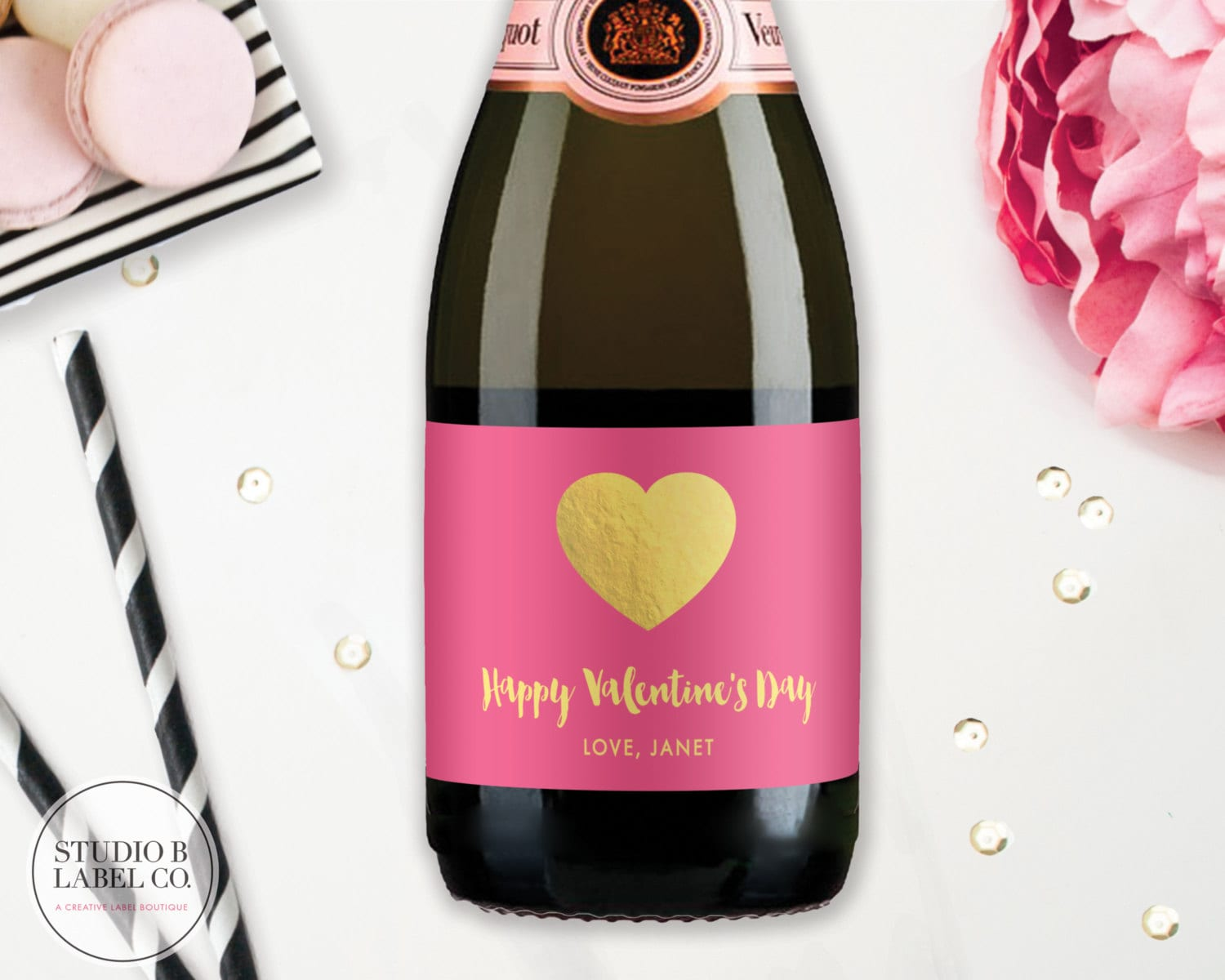 Valentines Day Mini Champagne Labels Personalized Wine | Etsy