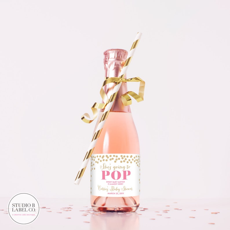 0acbd269fc7f She's Going To Pop Mini Champagne Labels - Baby Shower Favors - Champagne  Bottle Labels - Baby Sprinkle - Baby Shower Wine Label Stickers