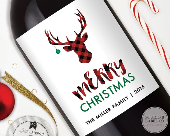 Happy Holidays Holiday Wine Labels Merry Everything Personalized Christmas Gifts Buffalo Plaid Christmas Wine Label Reindeer