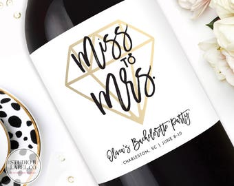 Bachelorette Party Champagne Labels - From Miss to Mrs - Custom Wine Labels - Mini Champagne Labels - Printable Bachelorette Party Favors