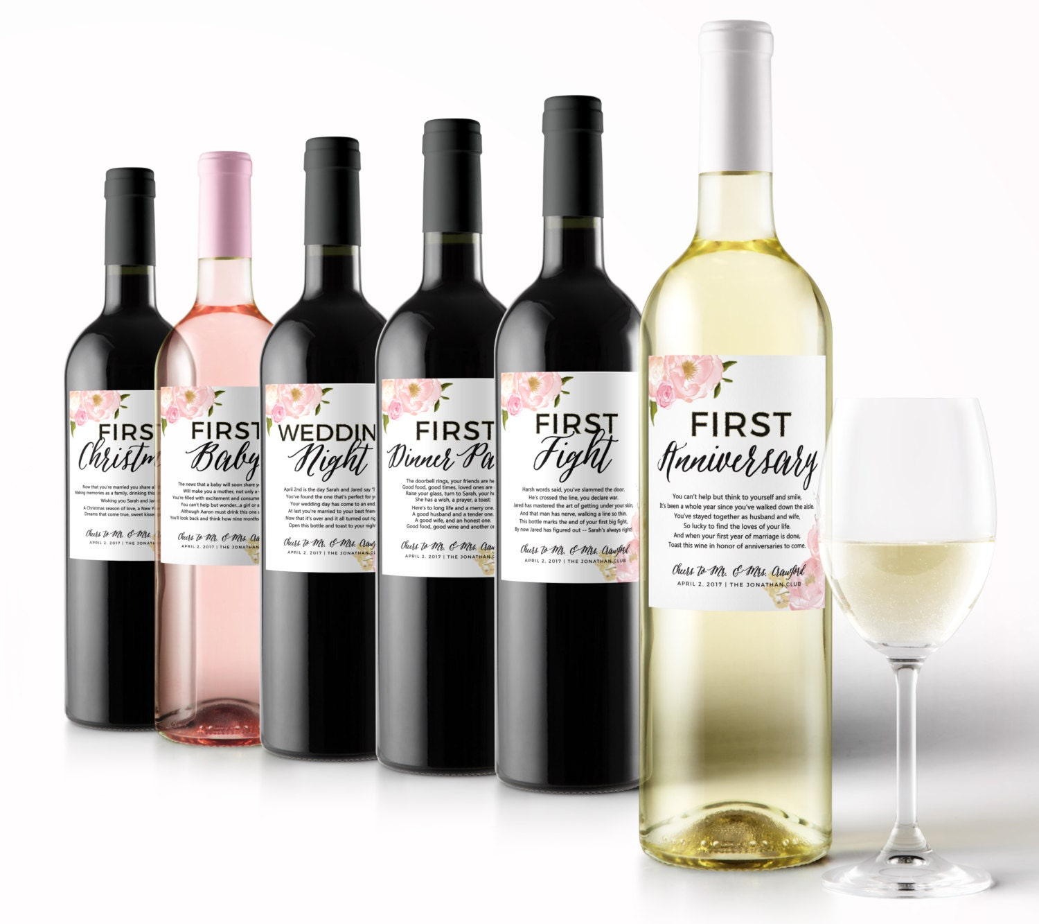 Wine Wedding: Wedding Milestone Wine Labels A Year Of Firsts Floral