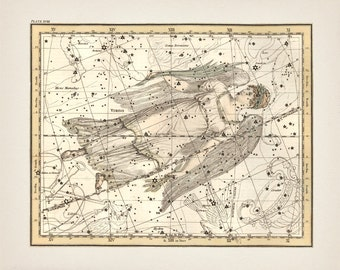 Virgo the Virgin or Maiden Zodiac Sign Constellation - AS-18 -Fine art print of a vintage scientific or pseudoscience astronomy illustration