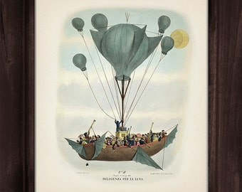 Victorian Airship 1, Dirigible - The Great Moon Hoax of 1835 - OE-05 Fine art print of a vintage Victorian innovation antique illustration