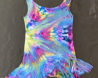 Tie Dyed Ruffle Tank Top- Rayon Jersey- Women's Small