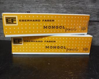 vintage pencils Eberhard Faber Mongol  Pencils No 482 #2  two boxes mint condition 16 count total