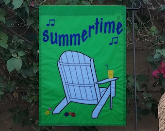 summer garden flag, original design with Adirondack chair, appliqued and embroidered, unique handmade seasonal yard decoration