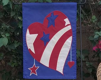 patriotic heart garden flag, original design, stars & stripes folk art appliqued yard décor