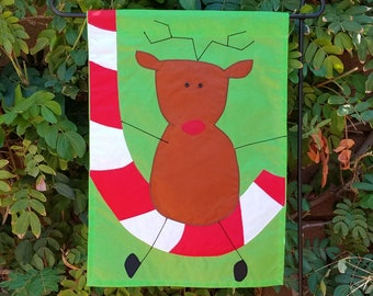Rudolph reindeer garden flag, original design, appliqued unique yard decoration