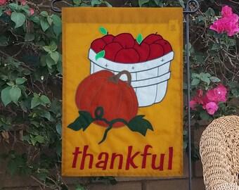 Thanksgiving garden flag, original design, unique appliqued handmade harvest theme yard décor