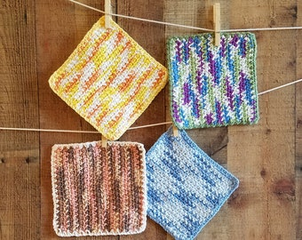 cotton crocheted dishcloths in 4 seasons colors. handmade 100% cotton yarn eco-friendly durable housewarming hostess gift under 20