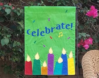 birthday garden flag, original design, a unique fun appliqued gift, handmade yard decoration