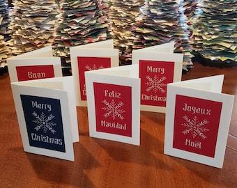cross stitch Christmas card, English, French, Spanish, Italian greetings, original design, handmade