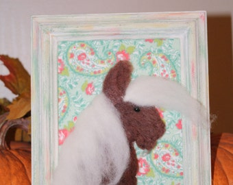 Brown Needle Felted Pony 5X7 Frame