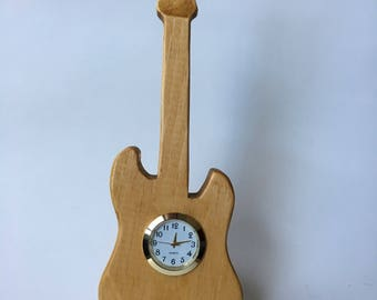 Electric Guitar Wooden Mini Clock In Pine Etsy