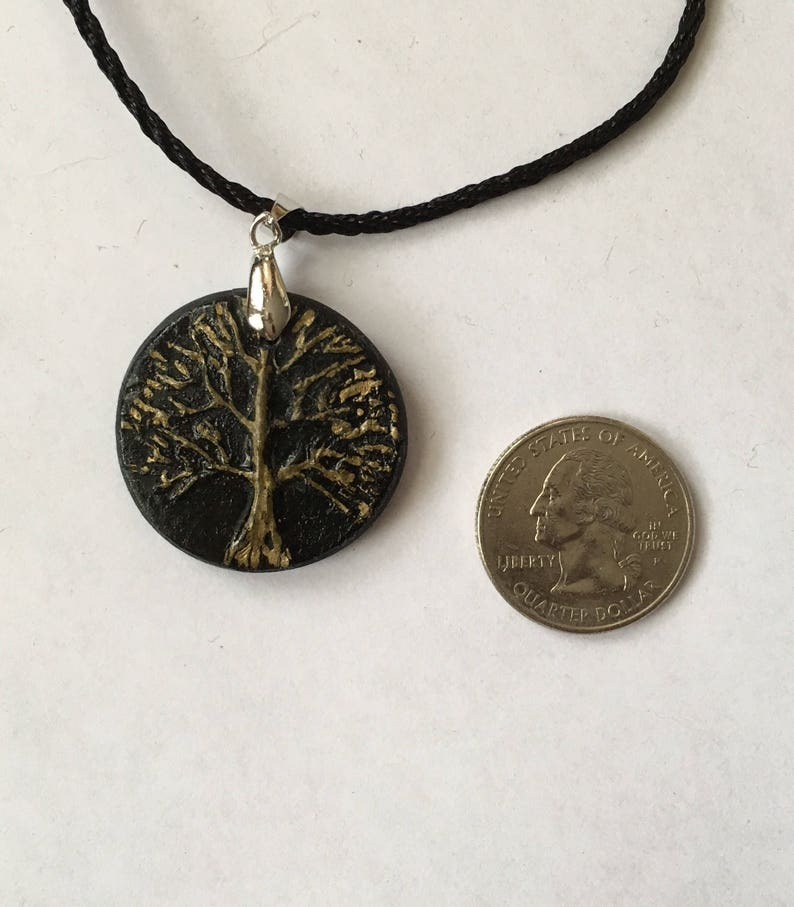 Tree Of Life Necklace In Polymer Clay Black And Gold.