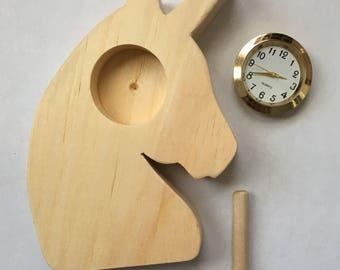 DIY Wooden Mini Clock Kit.  Unicorn. Solid Pine.