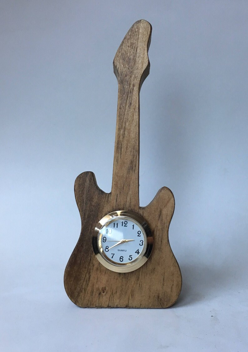Electric Guitar Wooden Mini Clock In Pine