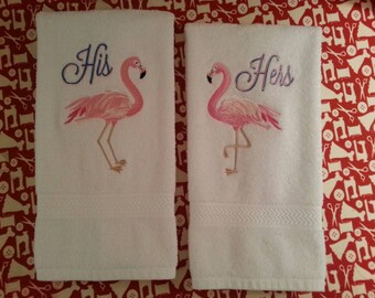 His & Hers Embroidered Hand Towels Set of 2