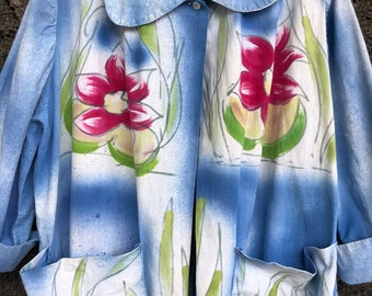 1960's Handpainted Cotton Pan Collar Blouse