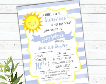 Sunshine Baby Shower Invitation, You Are My Sunshine, Baby Boy Shower Invitation, It's A Boy, Ray Of Sunshine, Printed or Digital, DIY