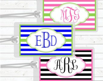 Personalized Luggage Tag Custom Houndstooth Print laminated Bag Tag with ribbon for School Camp Daycare Diaper Bag Ribbon