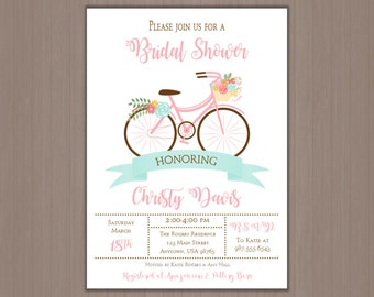 Bicycle wedding shower invitations etsy vintage bicycle wedding shower invitation 5x7 digital invitations or professionally printed by us floral bike bridal shower filmwisefo