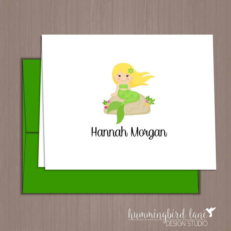 Folded Note Cards Stationery Mermaid Stationery Mermaid Thank You Notes Mermaid Note Cards Girls Note Cards Mermaid Thank You Cards