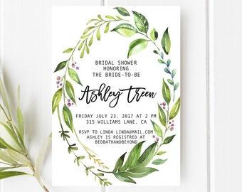 Greenery bridal shower invitation, Garden bridal shower, Botanical invitation, Green leaves bridal party invite, Nature wedding, Watercolor