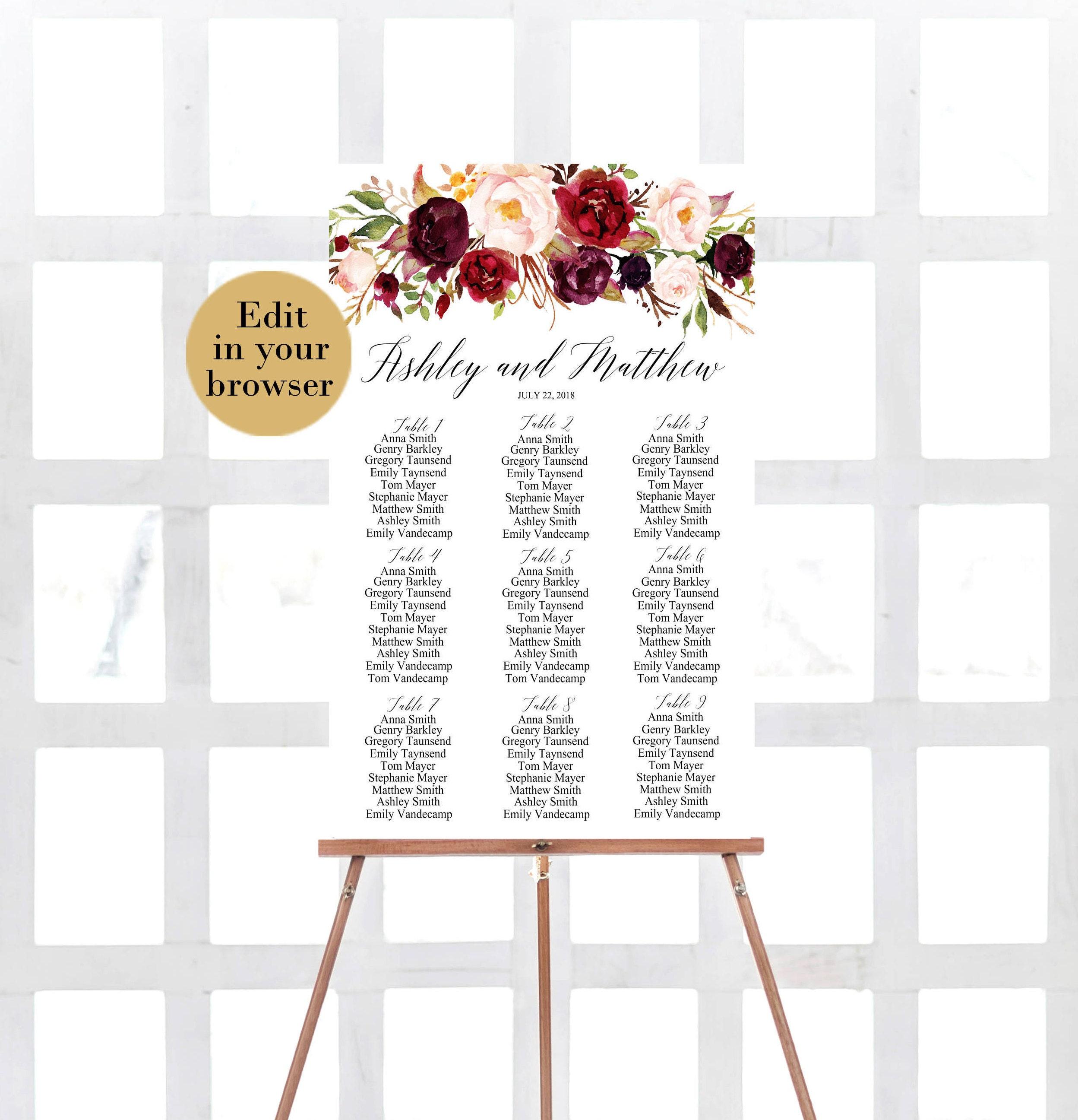 Wedding Seating Chart Template Editable Pdf Marsala Etsy
