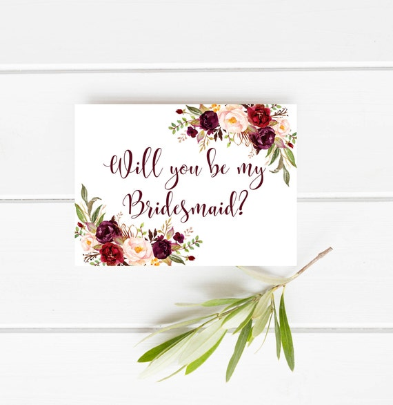 photo about Bridesmaid Proposal Printable called Printable bridesmaid card, Marsala Will on your own be my bridesmaid card, Burgundy bridesmaid card, Floral bridesmaid proposal card Boho bridesmaid