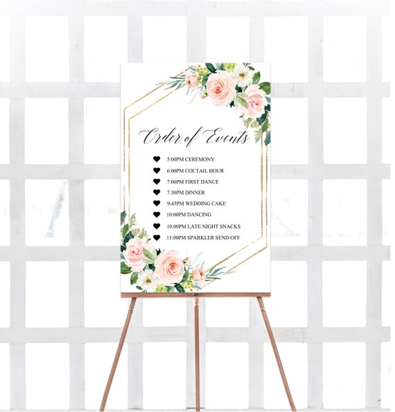 Printable Order Of Events Sign Blush Order Of Events Sign