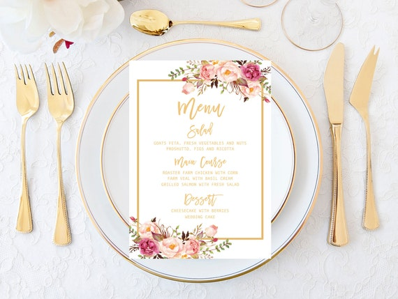 Printable Wedding Menu Cards Blush And Gold