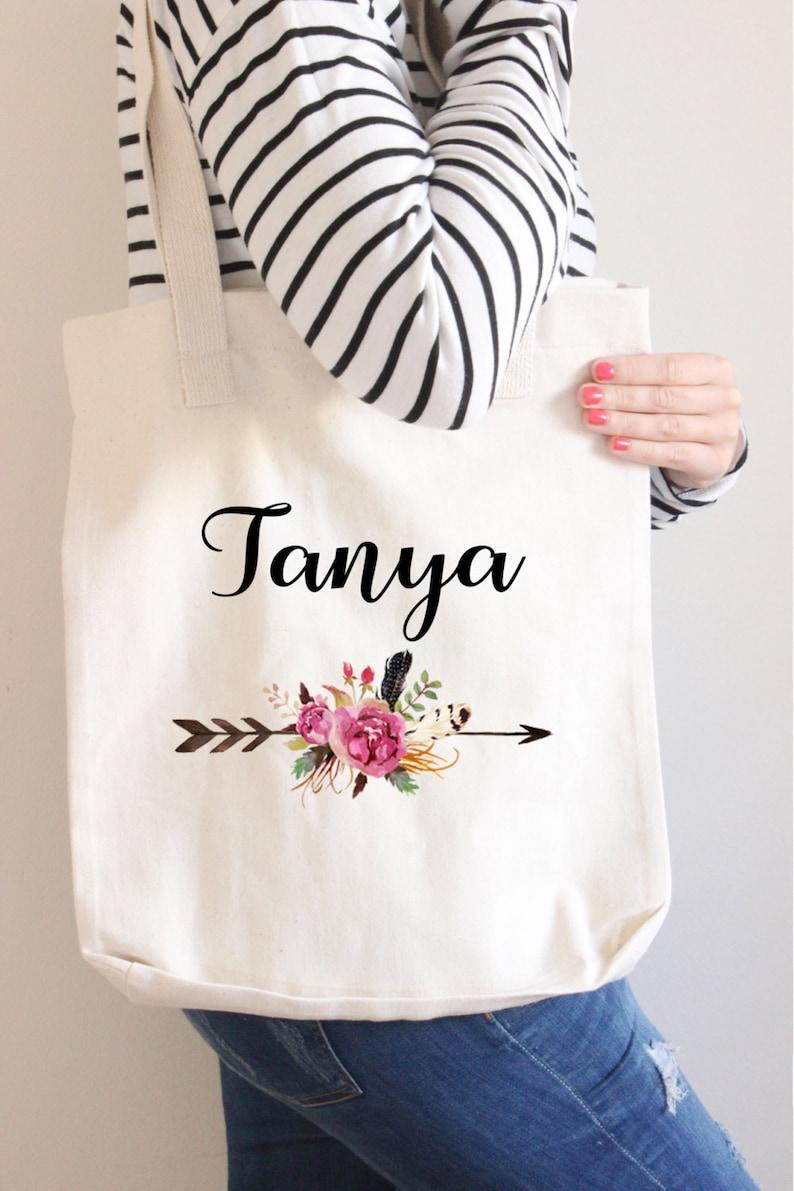 Personalized tote Arrow Tote Custom Tote Name Tote Canvas Tote Bridesmaid Gift Bridesmaid Tote Bag Floral name tote bag Tote bag