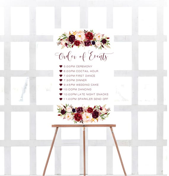 Printable Order Of Events Sign Marsala Order Of Events Sign
