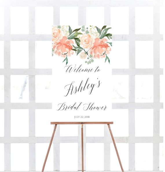59060d03b093 Bridal shower welcome sign Peach Bridal shower sign Chic