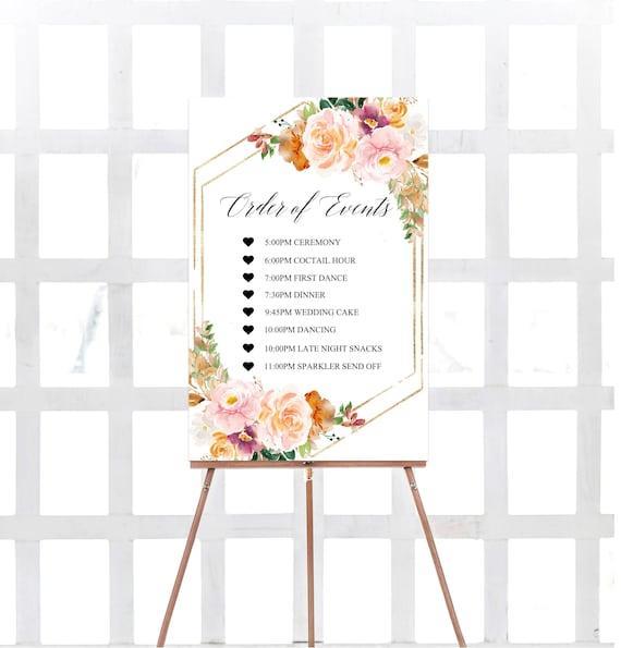 Printable Order Of Events Sign Orange Order Of Events Sign