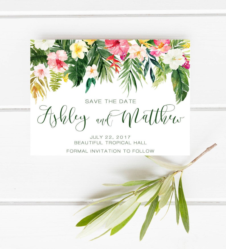 Printable Save the date Tropical Save the date Green Floral save the date Beach wedding Hawaii save the date Palm leaves save the date
