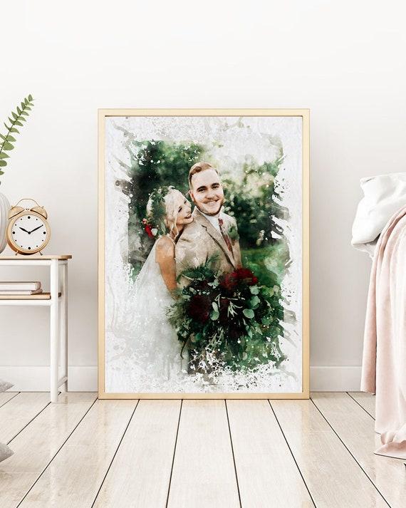 Custom Portrait Watercolor Wedding Portrait Framed Anniversary Gift