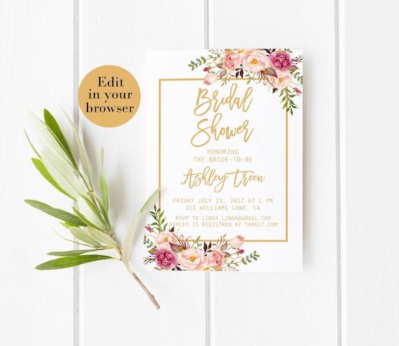 Bridal shower invitation template editable bridal shower etsy image 0 filmwisefo