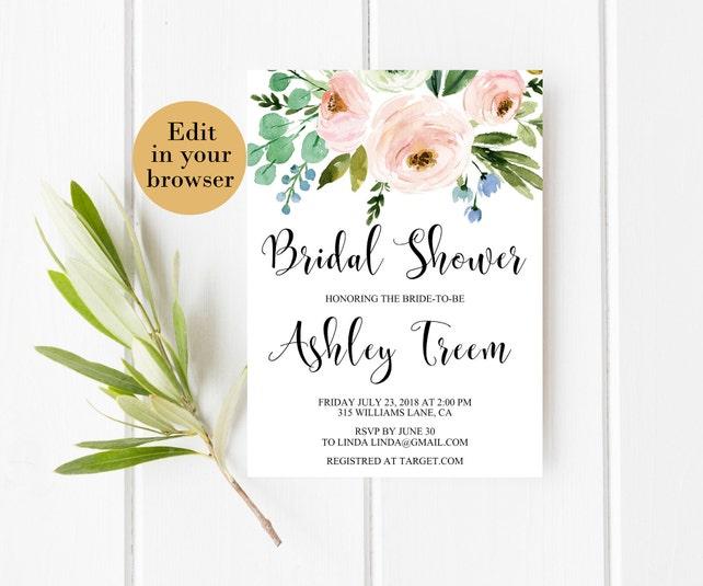 Bridal brunch invitation template spring bridal shower etsy image 0 filmwisefo