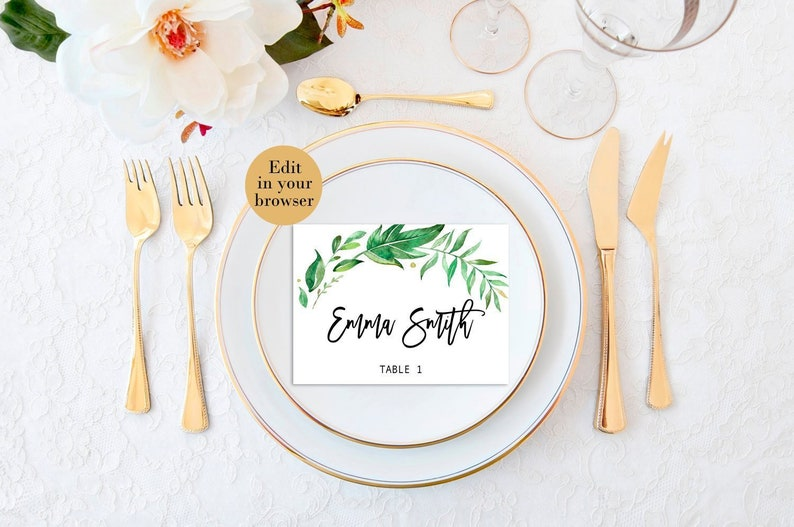 Wedding place cards Bridal shower Place Cards Table Setting Cards place cards Modern name cards Editable Greenery Place Cards Escort Cards