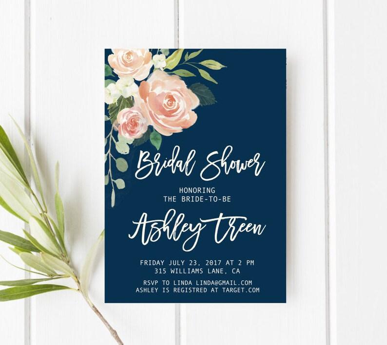 ae9a2d427a9e Navy and blush bridal shower invitation Peach bridal shower