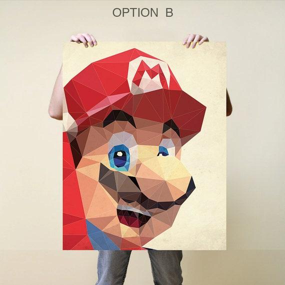 Mario Print Nursery Baby Gift Poster Illustration Art Etsy