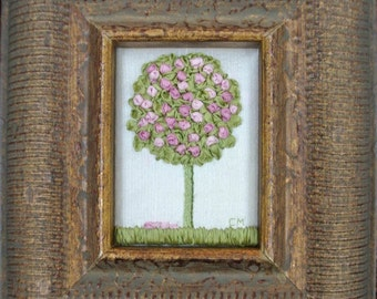 Ribbon Art Hand Embroidered Silk Ribbon Rose Topiary Tree Gilded Frame - Item H046